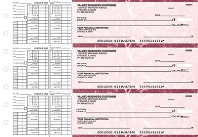 Burgundy Marble Payroll Business Checks