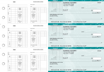 Teal Marble Multi-Purpose Corner Voucher Business Checks | BU3-7EMA01-MPV