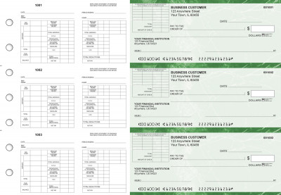 Green Marble Multi-Purpose Corner Voucher Business Checks | BU3-7GMA01-MPV
