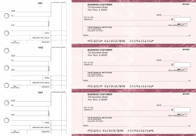 Burgundy Marble Standard Counter Signature Business Checks | BU3-BMA01-SCS