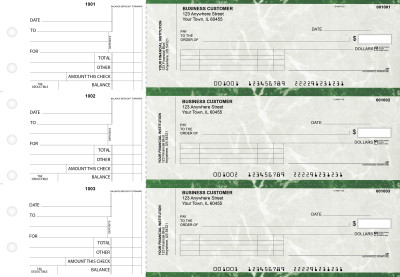 Green Marble Standard Invoice Business Checks | BU3-GMA01-SNV