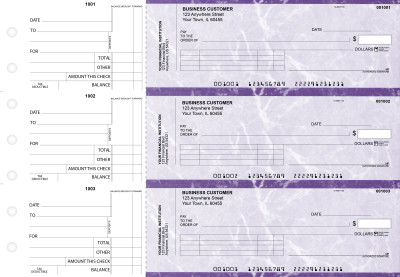 Purple Marble Standard Invoice Business Checks | BU3-UMA01-SNV