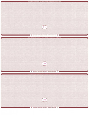 Burgundy Safety Blank High Security 3 Per Page Laser Checks | L3CHS-BLA-US