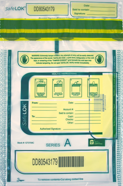 Deposit Bag 9'' X 12'' SafeLok, clear