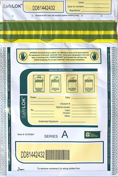 Deposit Bag 9'' X 12'' SafeLok, white
