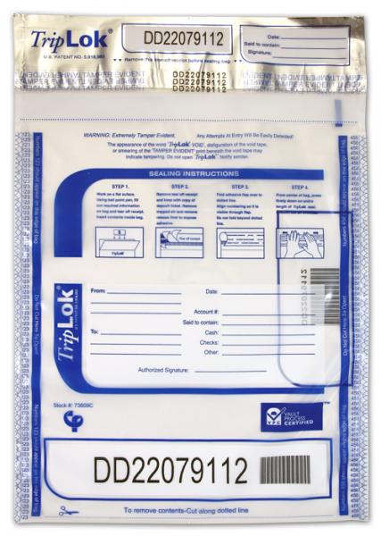 Deposit Bag 9'' X 12'' TripLok, clear