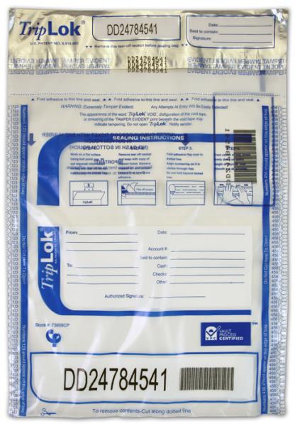 Deposit Bag 9'' X 12'' TripLok, clear w/pocket