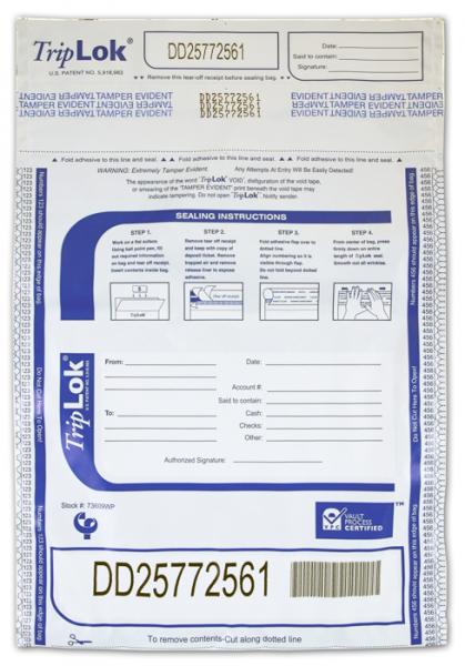 Deposit Bag 9'' X 12'' TripLok, white w/pocket