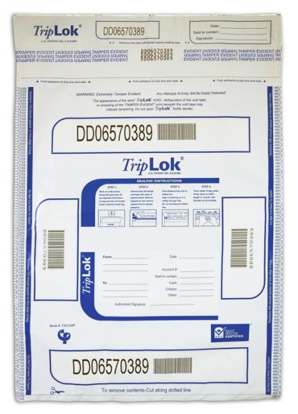 Deposit Bag 12'' X 16'' TripLok, white w/pocket