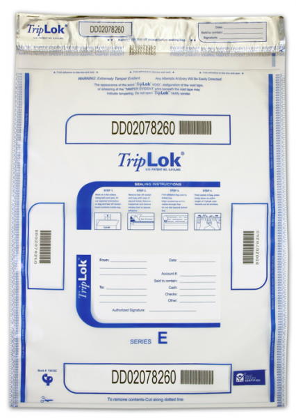 Deposit Bag 15'' X 20'' TripLok, clear