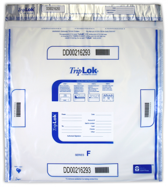 Deposit Bag 20'' X 20'' TripLok, clear