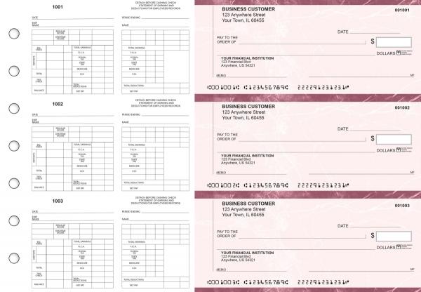 Burgundy Marble Multi-Purpose Counter Signature Business Checks