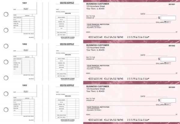 Burgundy Marble Multi-Purpose Salary Voucher Business Checks