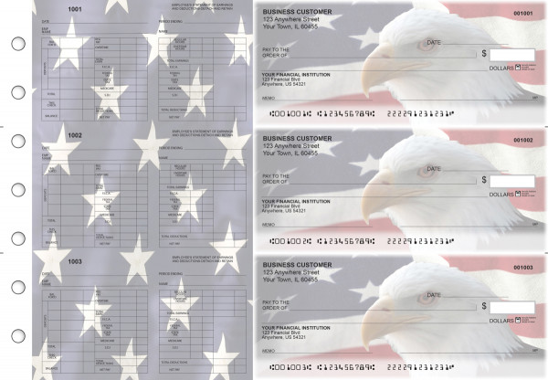 American Flag Multi-Purpose Hourly Voucher Business Checks | BU3-7CDS32-MPH