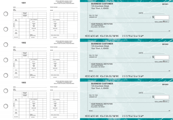 Teal Marble Multi-Purpose Counter Signature Business Checks | BU3-7EMA01-MPC