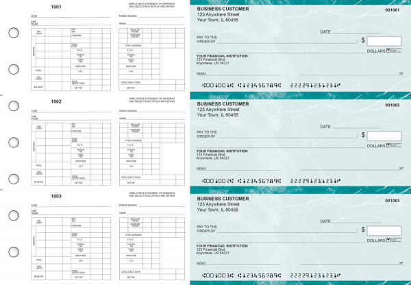 Teal Marble Multi-Purpose Hourly Voucher Business Checks | BU3-7EMA01-MPH