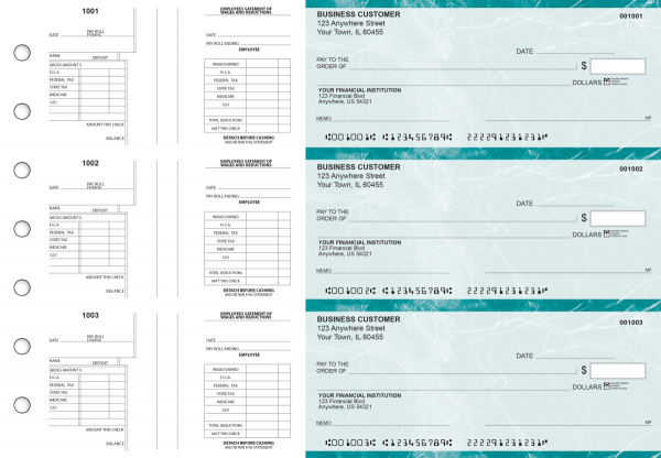 Teal Marble Multi-Purpose Salary Voucher Business Checks | BU3-7EMA01-MPS
