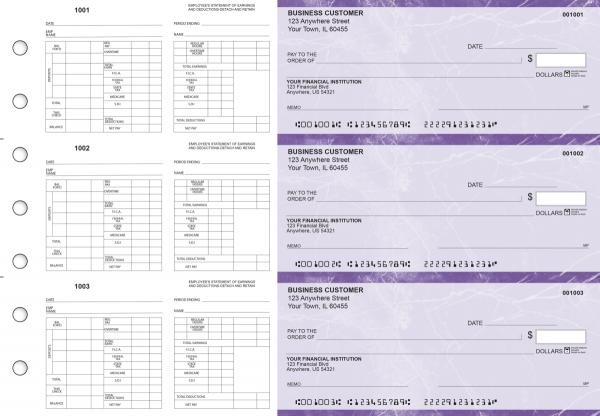 Purple Marble Multi-Purpose Hourly Voucher Business Checks