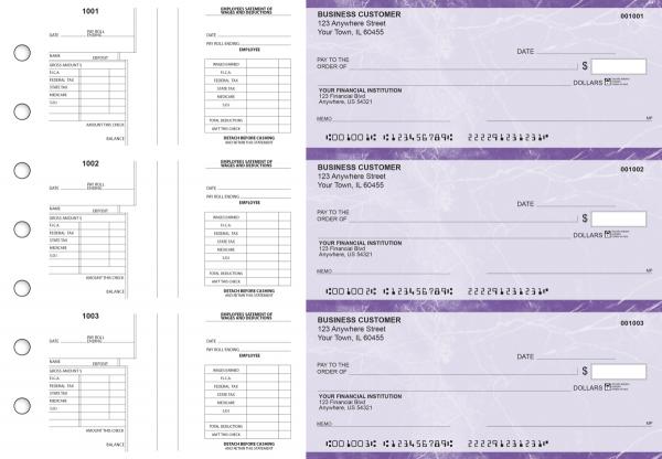 Purple Marble Multi-Purpose Salary Voucher Business Checks