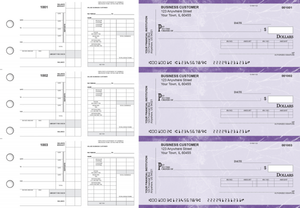 Purple Marble Payroll Invoice Business Checks