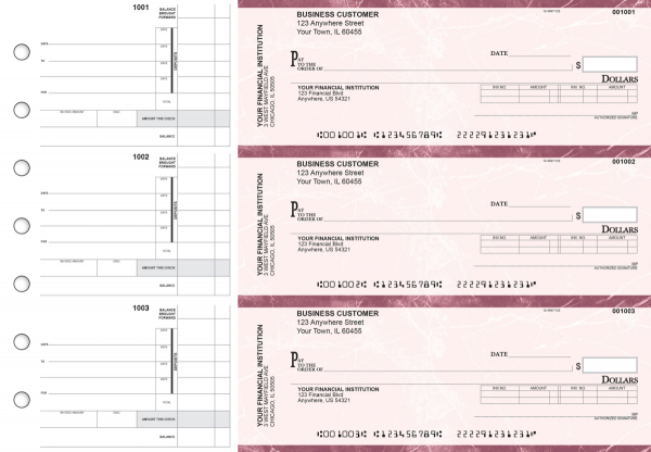 Burgundy Marble Invoice Business Checks