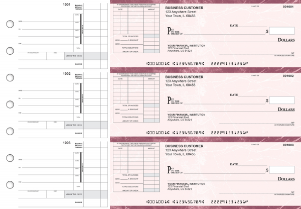 Burgundy Marble Itemized Invoice Business Checks | BU3-BMA01-TNV