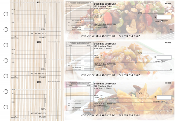 Chinese Cuisine Standard Itemized Invoice Business Checks