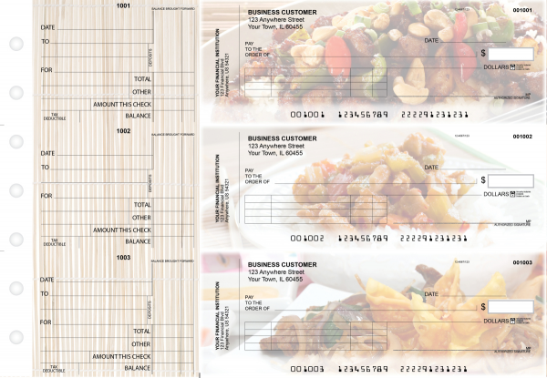 Chinese Cuisine Standard Invoice Business Checks