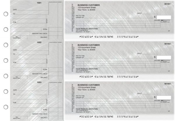 Brushed Metal Itemized Counter Signature Business Checks