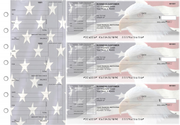 American Flag Standard Itemized Invoice Business Checks | BU3-CDS32-SII