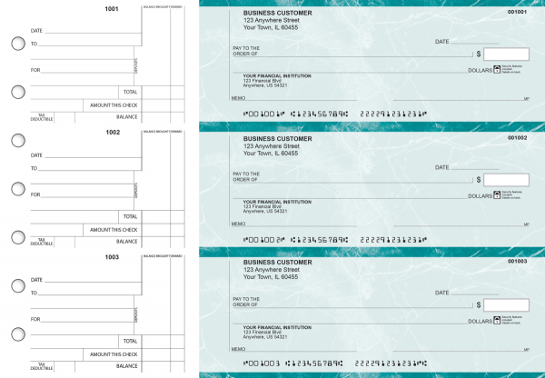 Teal Marble Standard Counter Signature Business Checks | BU3-EMA01-SCS