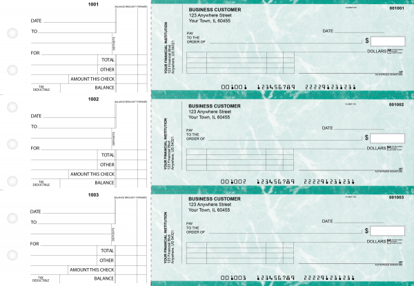 Teal Marble Standard Invoice Business Checks | BU3-EMA01-SNV