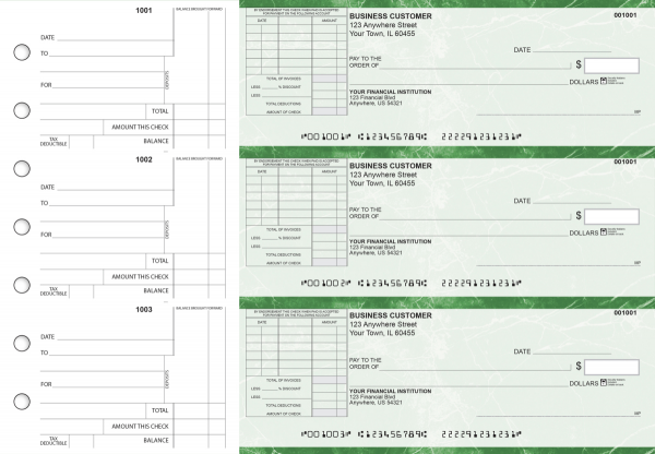 Green Marble Standard Itemized Invoice Business Checks