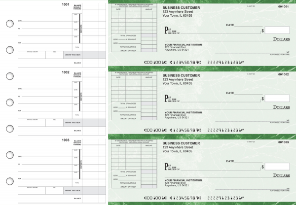 Green Marble Itemized Invoice Business Checks