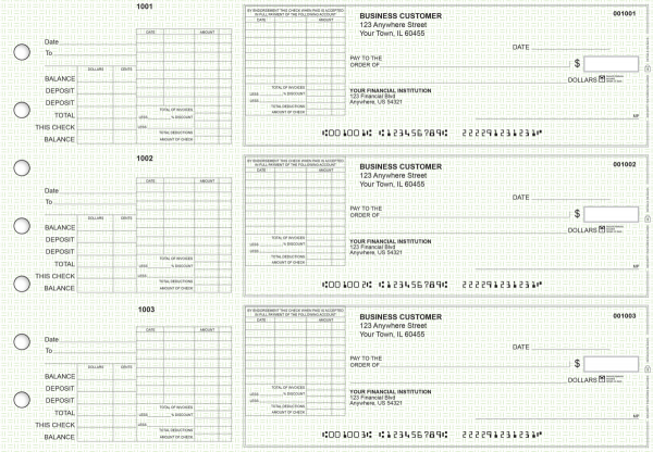 Green Knit General Itemized Invoice Business Checks