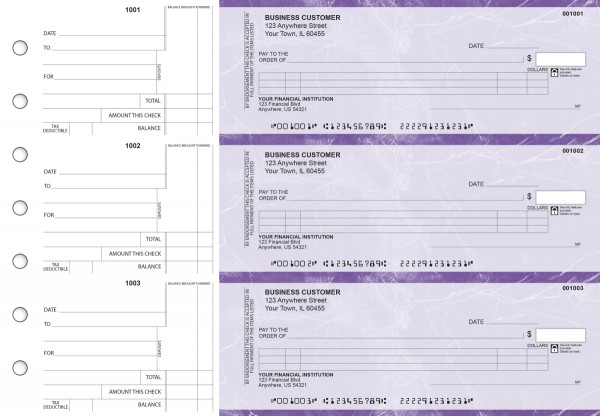 Purple Marble Itemized Counter Signature Business Checks | BU3-UMA01-ICS