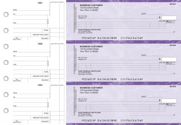 Purple Marble Itemized Counter Signature Business Checks