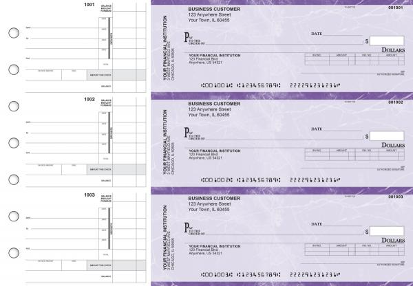 Purple Marble Invoice Business Checks