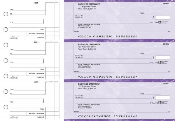 Purple Marble Standard Counter Signature Business Checks