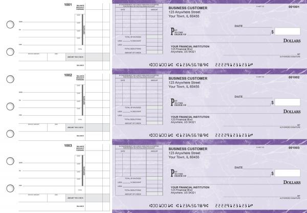 Purple Marble Itemized Invoice Business Checks