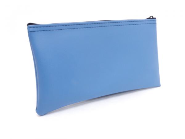 Light Blue Zipper Bank Bag 5.5 X 10.5