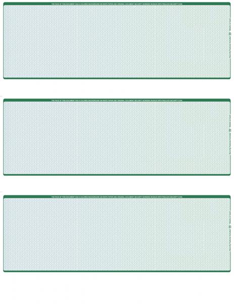 Blue Green Blank 3 Per Page Laser Checks