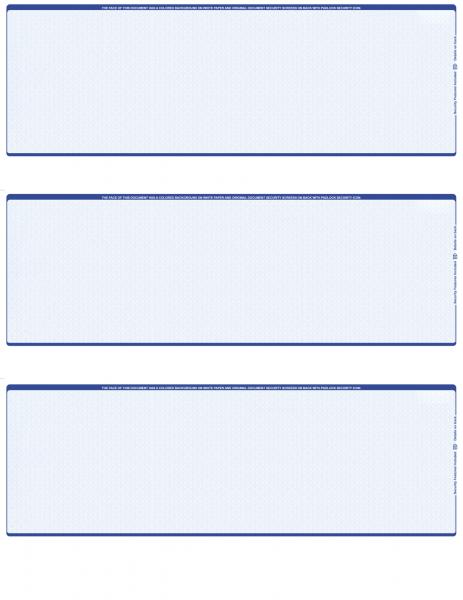 Blue Safety Blank 3 Per Page Laser Checks