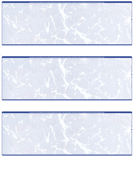 Blue Marble Blank 3 Per Page Laser Checks