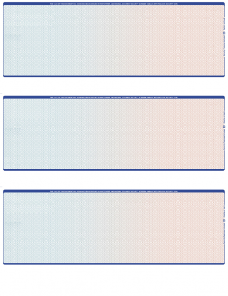 Blue Red Blank 3 Per Page Laser Checks