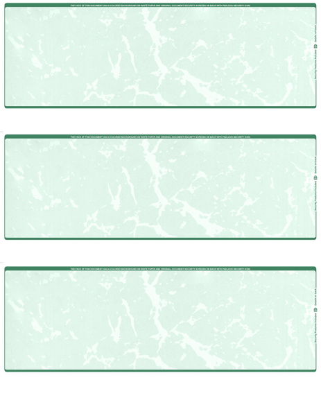 Green Marble Blank 3 Per Page Laser Checks