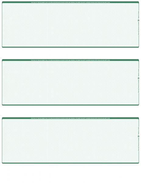 Green Safety Blank 3 Per Page Laser Checks