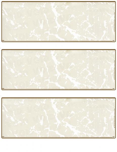 Tan Marble Blank 3 Per Page Laser Checks