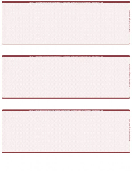 Burgundy Safety Blank 3 Per Page Laser Checks | L3C-BLA-US
