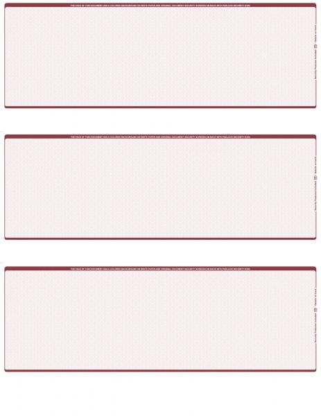 Burgundy Safety Blank 3 Per Page Laser Checks